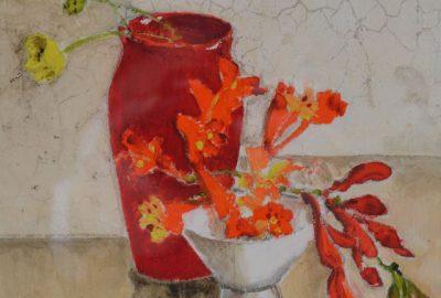Bloemen schilderijen: Ina van Toor - Kleintjes op rood